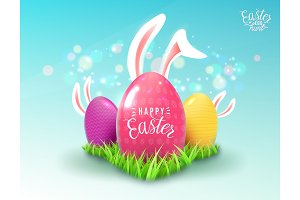 Easter background with green grass, color decorate eggs, easter bunny ears