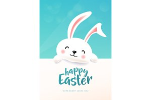 Easter card with white cute funny smiling rabbit. Easter bunny wishing spring