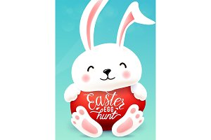 Easter bunny hugs egg with holiday greeting quote. Easter egg hunt