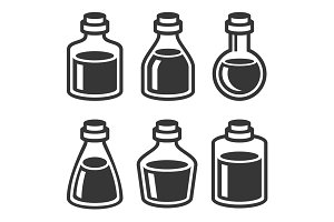 Small Medical or Parfume Jar Icons