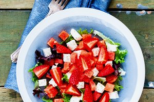Watermelon salad with arugula