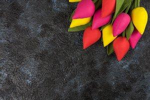 Handmade tulips on darken
