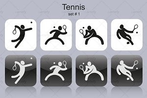 Set of tennis icons (4x)