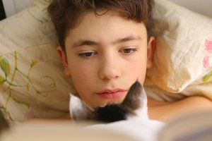 boy reading book in bed with cat close up funny photo
