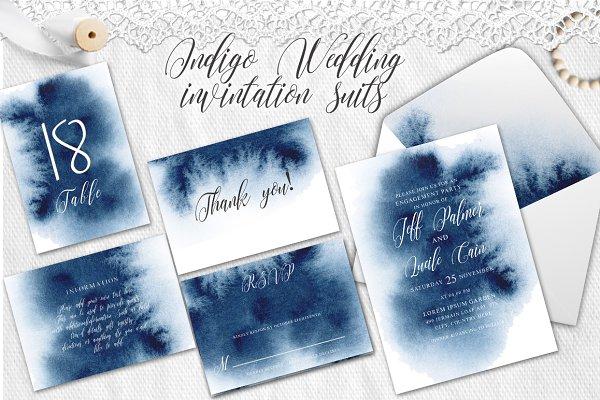 Indigo Watercolor Wedding Invitatio…