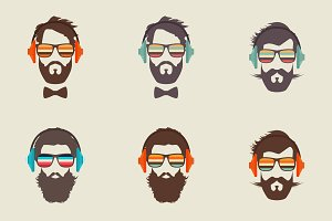 6 Hipster Men Faces With Headphone
