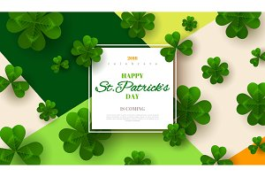 Patrick's Day with square frame and clover