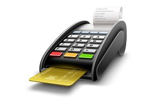 Bank terminal for payments by card