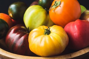 Heirloom Tomatoes in Wooden Bowl
