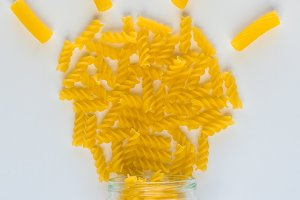 The bulb is lit with fusilli