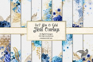 5x7 Blue and Gold Floral Overlays