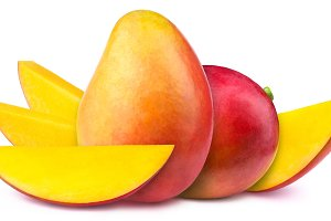 Two mangoes with slices isolated