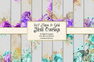 Aqua and Purple Gold Floral Overlays