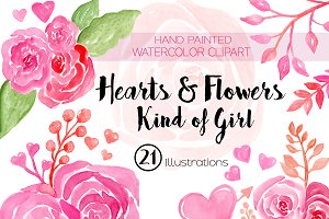 Hearts & Flowers Watercolor Clipart