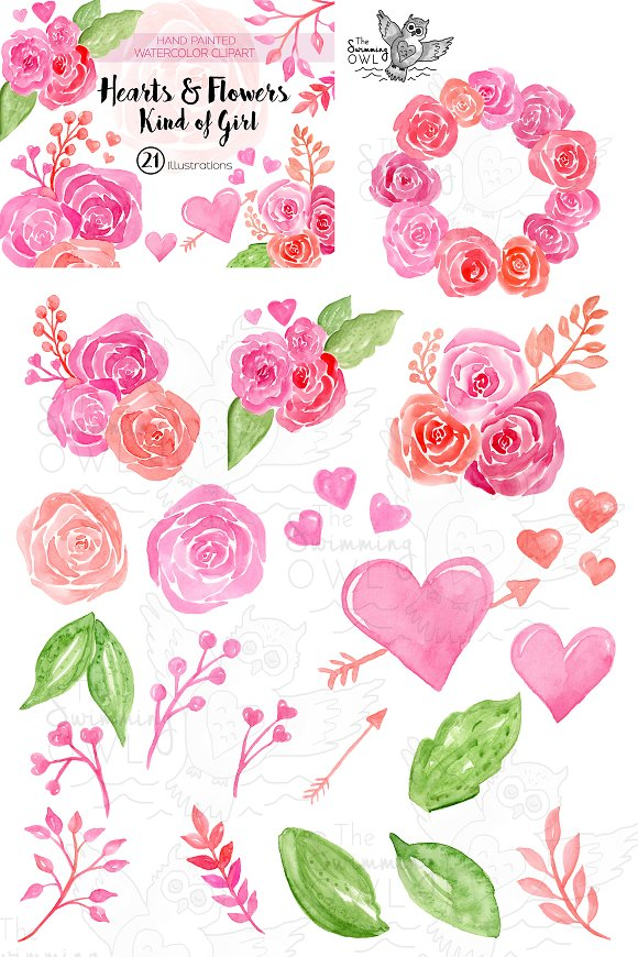 Hearts Flowers Watercolor Clipart Illustrations Creative Market