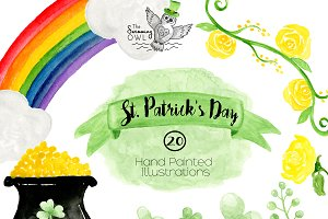 St. Patrick's Day Watercolor Clipart