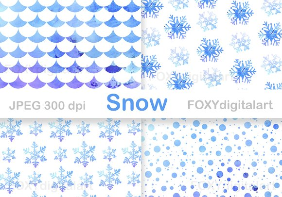Snow Flakes Christmas Digital Paper  in Patterns - product preview 4