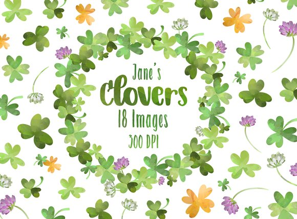 Watercolor Clovers Clipart