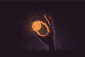 Glowing Bitcoin coin in hand.Vector.
