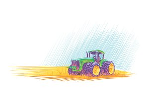 Tractor in field. Vector.