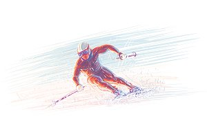 Skier/winter olimpic illustration.