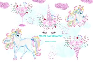 Watercolor Unicorn clip art.