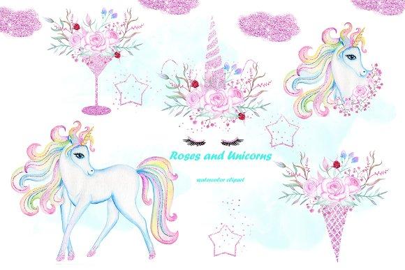 Watercolor Unicorn clip art.