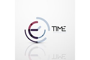 Vector abstract logo idea, time concept or clock business icon