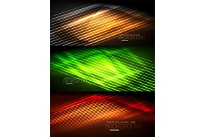 Set of neon glowing waves and lines, shiny light effect digital techno motion backgrounds. Collection of dark space magic vector illustrations