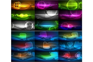 Set of abstract neon glowing magic backgrounds, dark shiny vector backgrounds with light effects for web banner, business or technology presentation