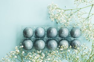 Easter eggs and gypsophila