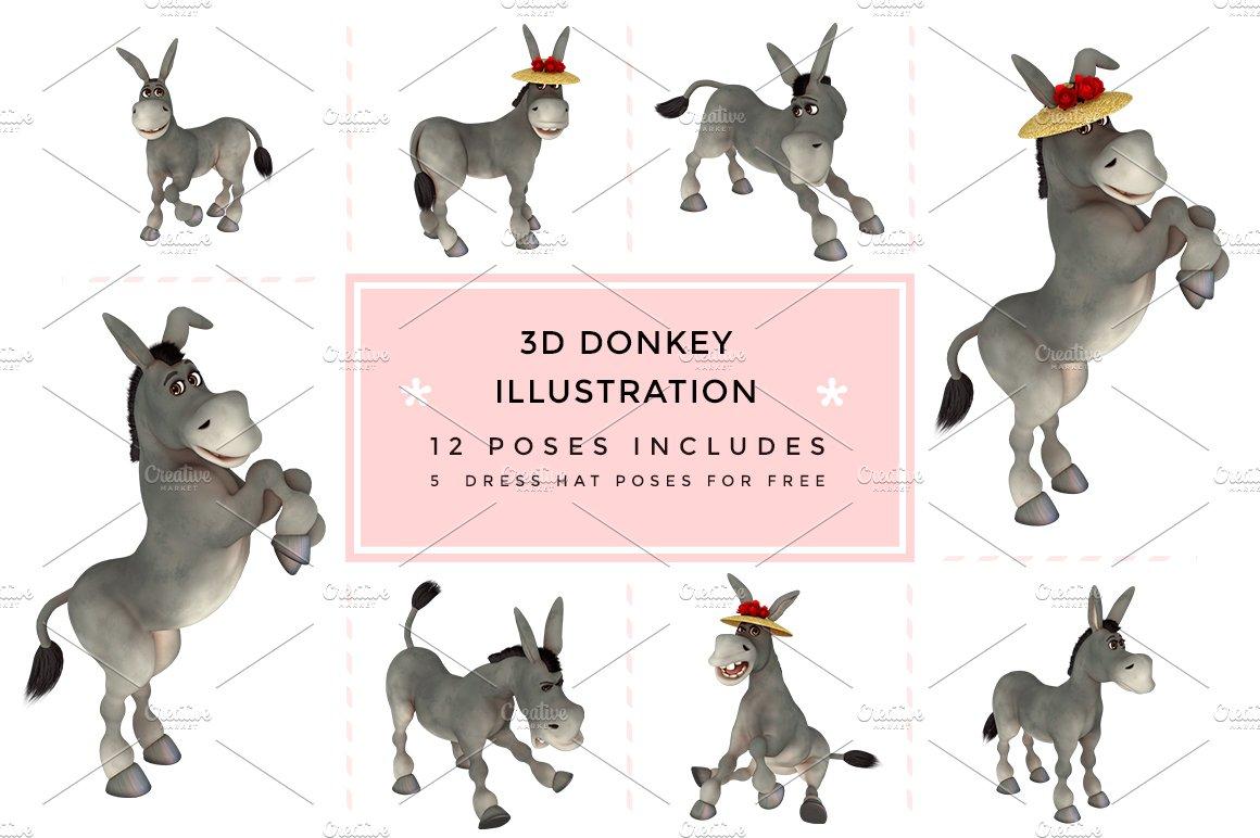 3d character toon donkey graphics creative market maxwellsz