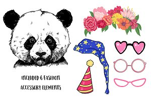 Cute Panda print illustration