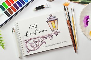 Stylish lantern in watercolor.
