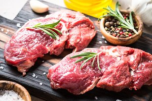 Beef steak rib eye with herbs.