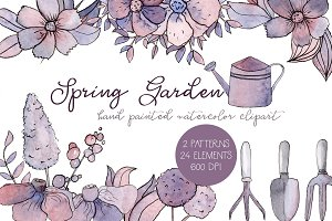 Spring Garden Watercolor Clipart Set