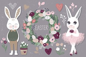 Happy Easter. Bunnies, eggs, flowers