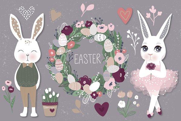 Happy Easter. Bunnies, eggs, flower…