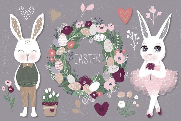 Happy Easter Bunnies Eggs Flowers