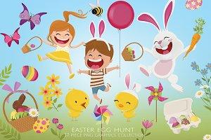 Easter Egg Hunt Clip Art Set
