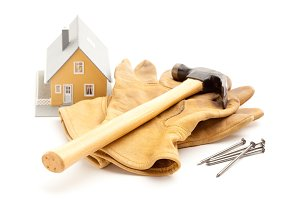 Hammer, Gloves, Nails and House Isol