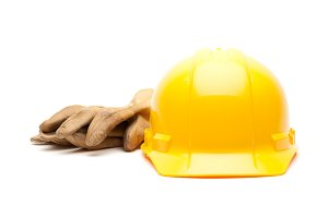 Yellow Hard Hat and Gloves Isolated