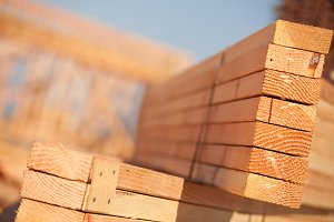 Building Lumber at Construction Site