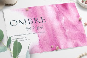 Ombre Watercolor Texture Red & Pink