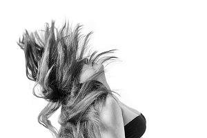Woman with hair billowing