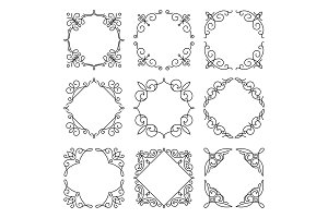 Line monogram frames set. Vector background