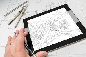 Hand of Architect on Computer Tablet