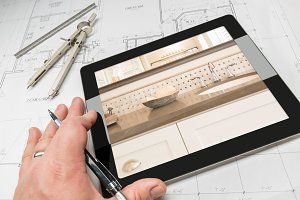 Architect Using Tablet Showing Bath