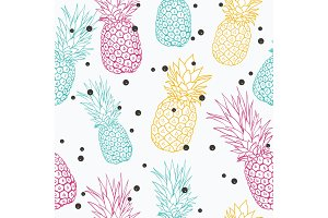 Vector pineapple polka dot summer colorful tropical seamless pattern background. Great as a textile print, party invitation or packaging.