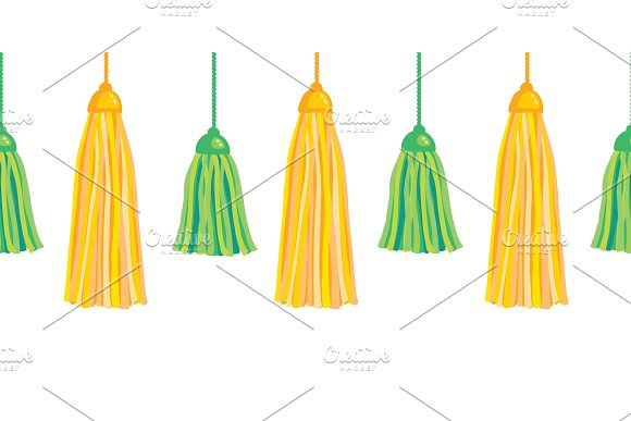Vector Green Yellow Hanging Decorative Tassels Set With Ropes Horizontal Seamless Repeat Border Pattern. Great for handmade cards, invitations, wallpaper, packaging, nursery designs.
